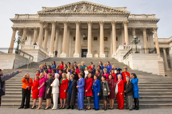 House Women's Democratic Caucas on the steps of the Capitol on the opening day of Congress